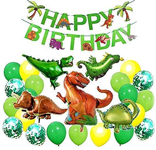 Decoraciones de cumpleaños para bebés Korins Tema de dinosaurio grande Niños Fiesta de feliz cumpleaños Pancarta Globos de látex Decoración de ducha de bebé