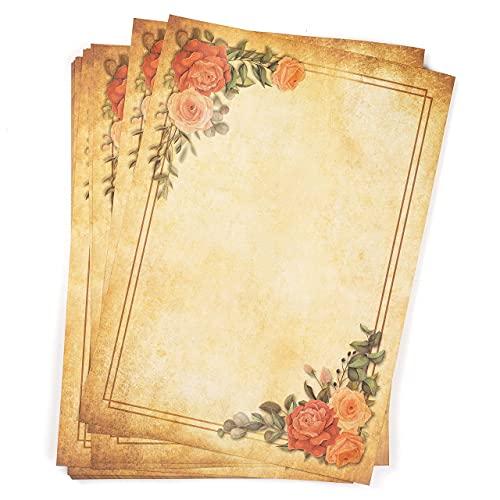 25 hojas Papel pergamino antiguo con Marco de flores vintage, DIN A4, Doble Cara, alto gramaje 120g/m², Bonito y Envejecido, Escribir, Imprimir, Manualidades, Carta, recortes, scrapbook, invitaciones