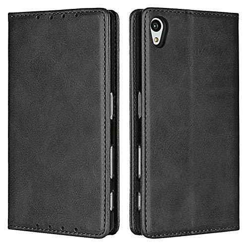 Zouzt Vagen Leder Folio Flip Wallet Hülle Kompatibel mitSony Xperia Z5 mit Magnetverschluss/Ständerfunktion/Kartensteckplätzen (schwarz)