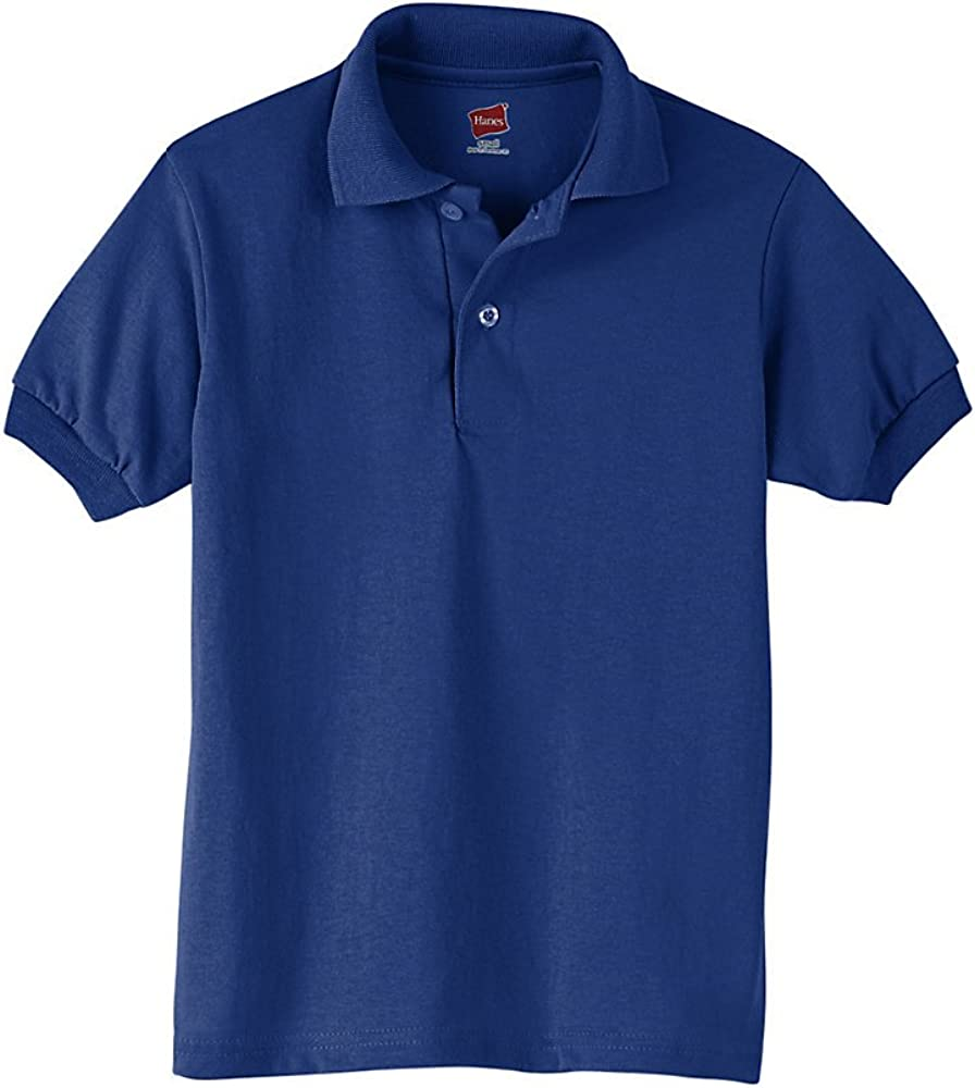 Hanes Big Boy's Short Sleeve Knit Tag-Free Label Polo Jersey