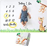 Product Image of the Baby Monthly Milestone Blanket | for Boy or Girl, Unisex | Month Blanket Baby...