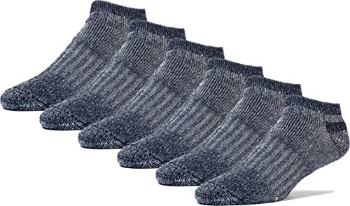FUN TOES Men's Merino Wool Low Cut Socks - Strong Arch Support - Cushioned Bottom - Ideal for Hiking Trekking- 6 Pairs (Blue)