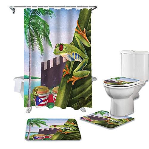 ZGDPBYF 4-Teiliges Duschvorhang-Set Tropical Plant Puerto Rico Flag Frog Duschvorhang-Sets rutschfeste Teppiche Toilettendeckelabdeckung Und Badematte Badvorhänge-Set-4-Teiliges Set