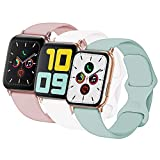 Idon 3-Pack Compatible for Apple Watch Bands 40MM/38MM S/M, Soft Silicone Replacement Sport Watchbands Compatible for Apple Watch Series SE/6/5/4/3/2/1 All Versions (Concrete + White + Pink Sand)
