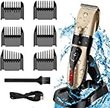 Professional Hair Clippers for Men Kids, USB Rechargeable Hair Shaver with 6 Clippers, Cleaning Brush, Charging Stand