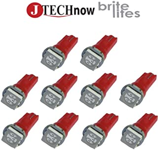 Jtech 10 x T5 5050 SMD LED Red Instrument Panel Dash Light Bulb 74 17 18 37 70 2721