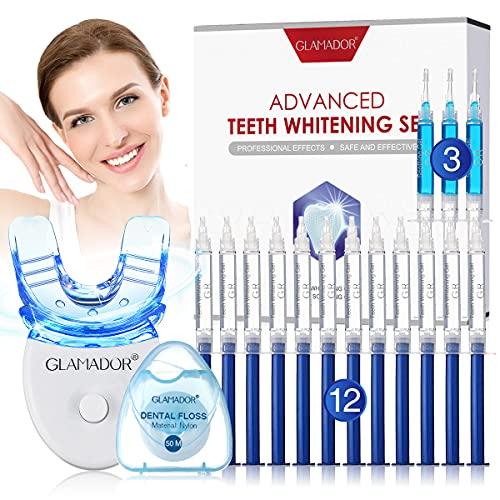 Professionelles Zahnweiß-Kit - GLAMADOR Zahnaufhellung-Set mit 12 Bleaching-Gel, 3 Beruhigungsgel, Zahnseide, Gutter-Wiederverwendbares Teeth Whitening Kit, häusliche Zahnpflege