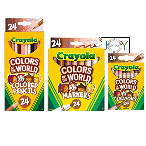 GiftsOfJoy Colors of The World Multicultural Art Kit. Includes 24ct multicultural Crayons, 24ct Colored Pencils, 24ct Markers, and an EXCLUSIVE GiftsOfJoy Colors of World coloring sheet