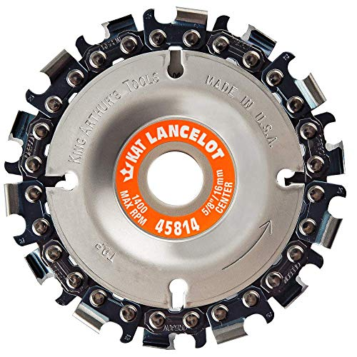 """King Arthur's Tools Original & Patented Lancelot 14 Tooth Carving Disc - 4' (100mm) Dia. X 5/8"""" (16mm) Bore - Fits 4 and 4 1/2' Woodworking Angle Grinder - Attachment for Milwaukee, Fein 45814"""