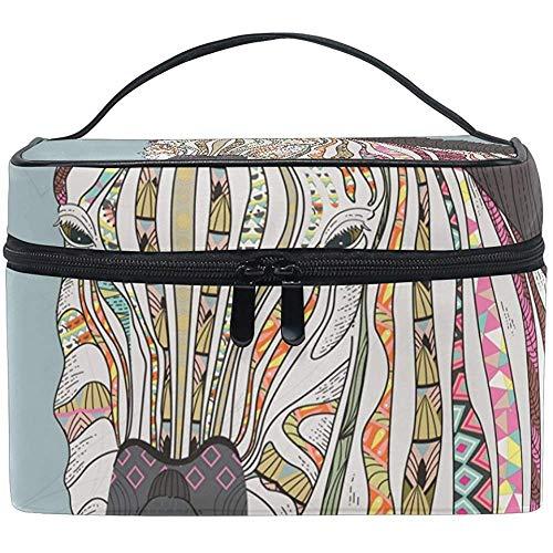 Reistas met ritssluiting, handgemaakt, zebra-kleur, make-uptas, multifunctioneel, draagbaar