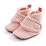 CARREAN Baby Boys Girls Cotton Booties Non Skid Soft Sock Boots Infant Slippers Newborn First Walker Crib Shoes 1Pink 13CM