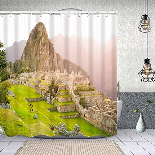Cortina de Baño con 12 Ganchos,Machu Picchu Ciudad perdida de los incas Peru,Cortina Ducha Tela Resistente al Agua para baño,bañera 180X180cm