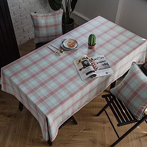 DSman Strykfri bordsduk – fläckavvisande, lättskött bordslinne – bordsduk, enkelt vattentätt randigt rutnät