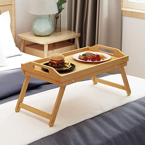 soges 50 x 30 x 21cm Bamboo Mesa Plegable Desayuno Comida en la Cama Mesa Plegable Ligera Bandeja...