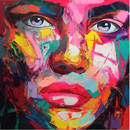 KPWAN canvas afdrukken 1 stuk Hd Print groot formaat op doek olieverfschilderij messen kleurrijk gezicht figuur poster muurkunst (maat 1) geen lijst.