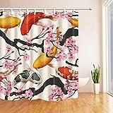 JYEJYRTEJ Rosa Kirsche & Koi Dekorativer Duschvorhang kann gewaschen & getrocknet Werden,12Haken,150X180cm,geeignet für Badezimmer