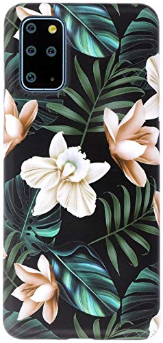 A-Focus Galaxy S20 Plus Floral, Galaxy S20+ Flower, Ins Style IMD Design Series Banana Leaf Anti Scratch Flexible Slim Fit TPU Case for Samsung Galaxy S20+ / S20 Plus 5G 6.7 inch Matte White Green
