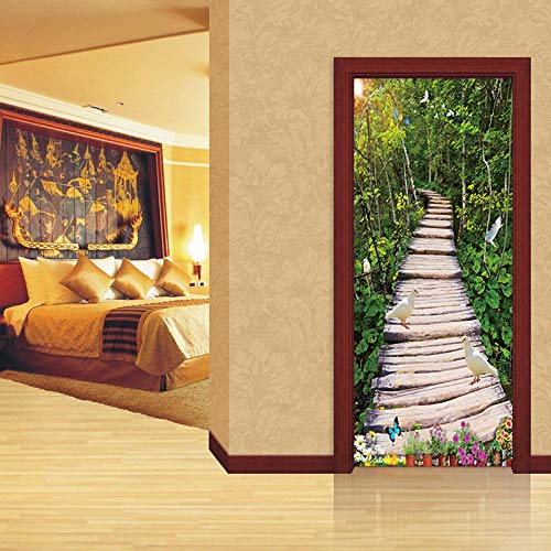 Puente de madera idílico Puerta Pegatinas Murales Autoadhesivos Europea Calcomanía Impermeable Wallpaper Sala de estar Dormitorio Baño Decoración para el hogar