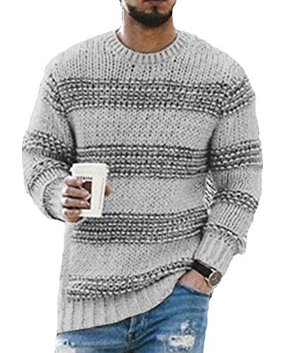 Mr.1991INC&Miss.GO Men's Casual Sweater Autumn and Winter Round Neck Striped Knitted Top Gray