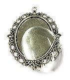5 grandi montature ovali in argento anticato, 61 x 48 mm e perline adesive cabochon fai da te.