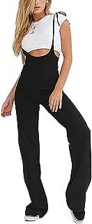 Women Overalls Wide Leg Pants Black Long Suspenders Trousers Black Jumpsuits Rompers