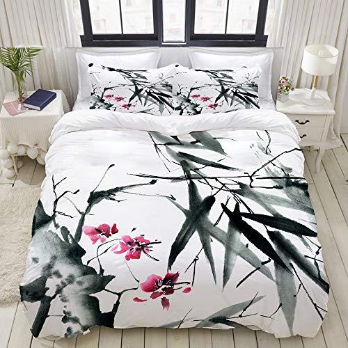 MOBEITI Bettwäsche-Set,Natürliche Heilige Bambusstämme Kirschblüte Japanisch inspirierte Folk Print,Dekoratives 3-teiliges Bettwäscheset mit 2 Kissenbezügen,Einzelgröße(135 x 200cm)