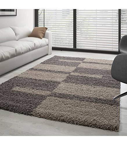 Teppich Hochflor Shaggy Langflor Wohnzimmer Karo Muster Florhöhe 3 cm - Taupe-Beige, 80x150 cm