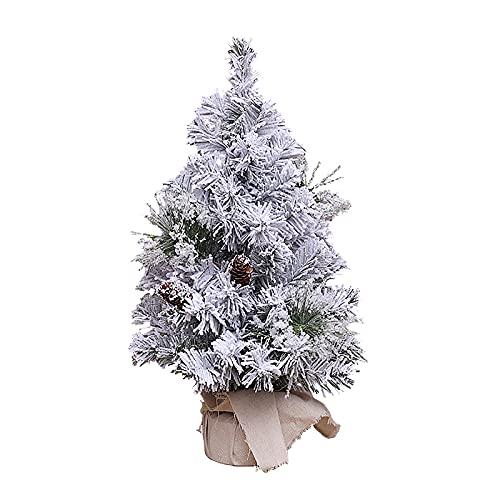 TIAVNTD Árbol de Navidad en miniatura, árbol de pino con base de bolas, árboles artificiales de heladas de nieve para escritorio Mini árbol de pino para decoración del hogar de fiesta de Navidad