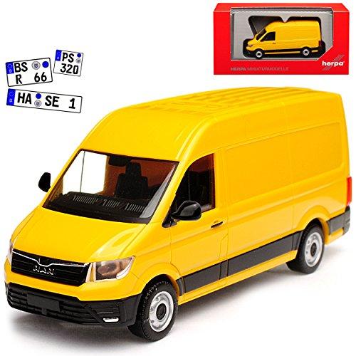 Herpa Man TGE Transporter Kasten Gelb Baugleich Volkwagen Crafter Ab 2016 H0 1/87 Modell Auto