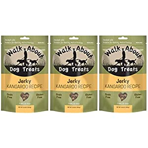 Walk About 3 Pack of Kangaroo Jerky Dog Treats, 5.5 Ounces each, Single Meat Protein
