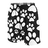 Traje de baño de los Hombres,la Pata de Perro Blanco y Negro Imprime el patrón del azulejo,Pantalones Cortos del Traje de baño de los Troncos de baño de Secado rápido de la Ropa de Playa L