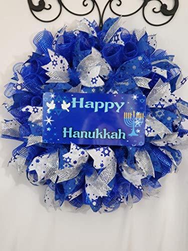 Happy Hanukkah Wreath, Hanukkah Door Hanger, Hanukkah