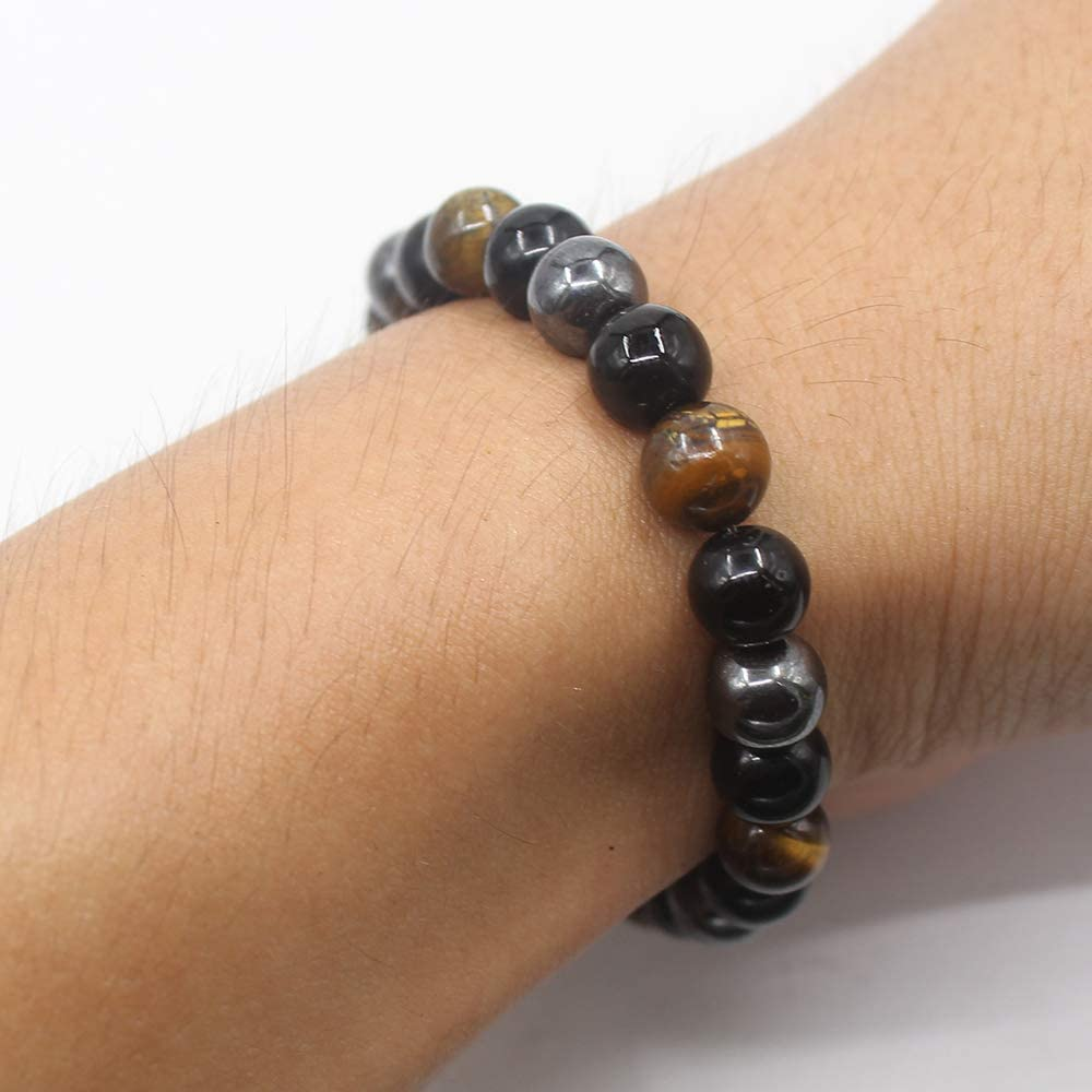 KSQS Triple Protection Bracelet,for Protection Bring Luck and Prosperity,Hematite Beads+Black Obsidian+Tigers Eye Stone Bracelets