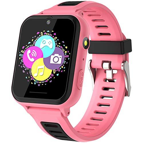 Smartwatch Niños - Reloj Inteligente Niña Niños con Llamada SOS Música 14 Juegos Cámara Cronómetro Despertador Calculadora Linterna Pantalla Táctil, Reloj Llamada Niños Regalos para 4-12 Años (Rosa)