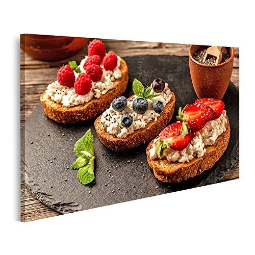 islandburner Cuadro en Lienzo Sándwiches Dulces Frutas y Bayas Banner Menú de Catering Receta Cuadros Colores Muy llamativa