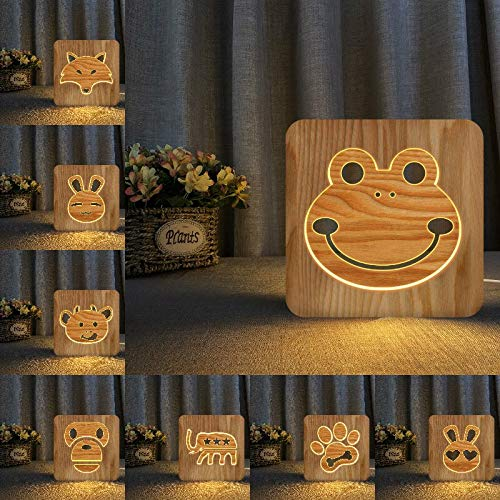 Solo 1 pieza Frog fox bear rabbit 3D LED luz de noche de madera lámpara de mesa hueca lámpara de mesa de alimentación USB para bebés niños regalos de Navidad y año nuevo