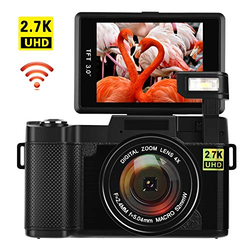 Cámara Digital con WiFi 24.0 MP Cámara Vlogging 2.7K Ultra HD 3.0 Pulgadas Cámara con Pantalla Plegable Linterna retráctil