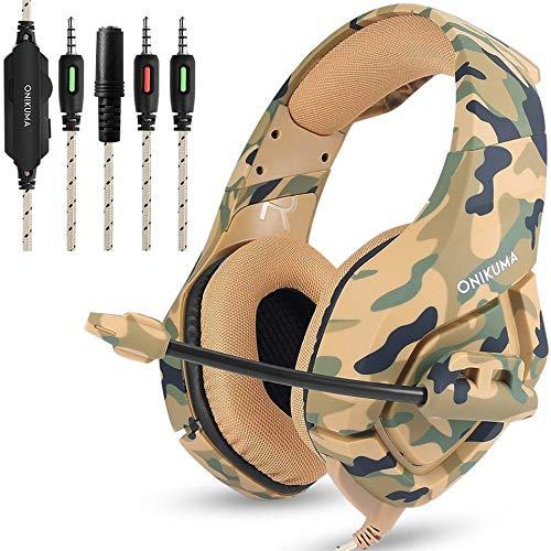 Docooler ONIKUMA K1 Auriculares de Juegos de 3, 5 mm con Micrófono Estéreo Sonido con Reducción de Ruido para PC Nuevo Xbox Laptop DS PSP Camuflaje Amarillo