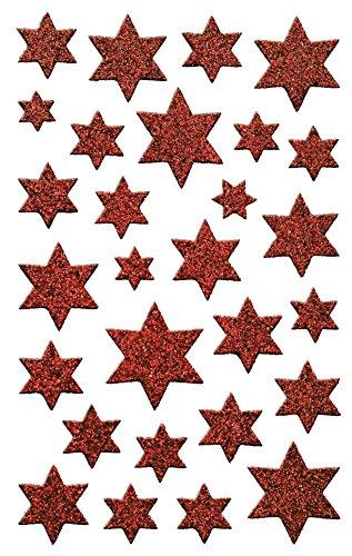 AVERY Zweckform Art. 52277 Aufkleber Weihnachten 28 rote Sterne (Weihnachtssticker aus Glitzerfolie, selbstklebende Weihnachtdeko für Karten, Geschenke, DIY) 1 Bogen mit 28 Sternstickern