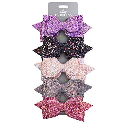 Skudgear Pinzas para el pelo de lentejuelas grandes, accesorios y pasadores para niñas (5 piezas)