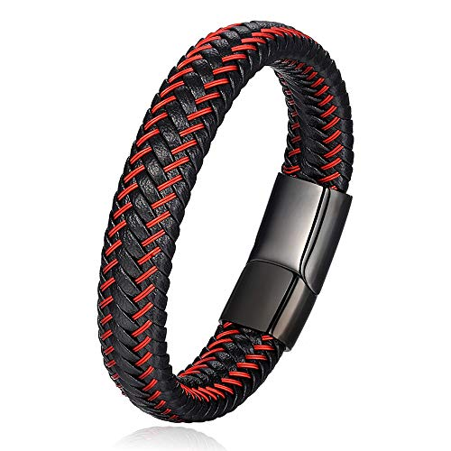 Jewellbox Pulsera de cuero trenzado negro rojo para hombre, pulsera de cuero punk, pulsera de acero inoxidable con cierre magnético en caja de regalo