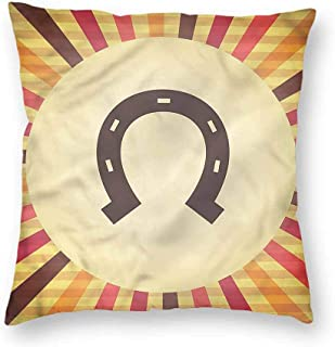 Horseshoe Decorative Square Throw Pillow Cases Starburst Vintage Lines Protectors Cushion Covers for Sofa 20 x 20 Inch