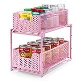 Simple Trending Stackable 2-Tier Spice Rack Kitchen Organizer Cabinet Storage with Sliding Storage Drawer, Pink
