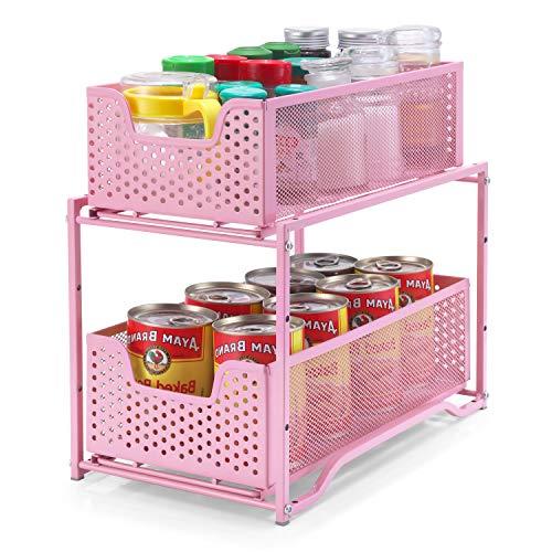 Simple Trending Stackable 2Tier Spice Rack Kitchen Organizer Cabinet Storage with Sliding Storage Drawer Pink