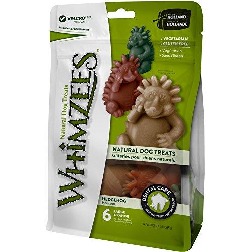 WHIMZEES Igel, natürliche getreidefreie Zahnpflegesnacks, vegetarisch, Kauartikel für Hunde, Größe L, 6 Stk. in 360 g Beutel