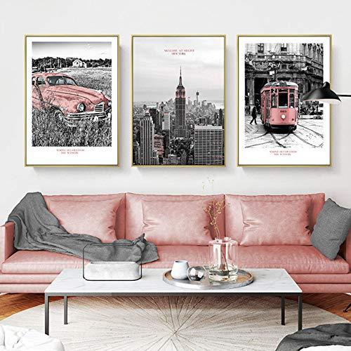 New York Schwarz Weiß Gebäude Kunst Leinwand Malerei Rosa Auto Bus Poster und Print Wohnzimmer Morden Landschaft Decor Wandbild