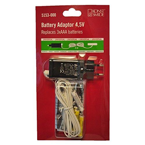 Konstsmide, 5153-000, Netzadapter für Batterieartikel von Konstsmide mit 3 x AAA 1.5V Batterien, 4.5V, weißes Kabel