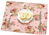 EKEA-Home®;Algodón Hogar Decorativo Fresco Bold Floral Impreso Aislamiento Taza Mat Moda Posavasos Mantel, algodón, Rojo, 40 * 30cm
