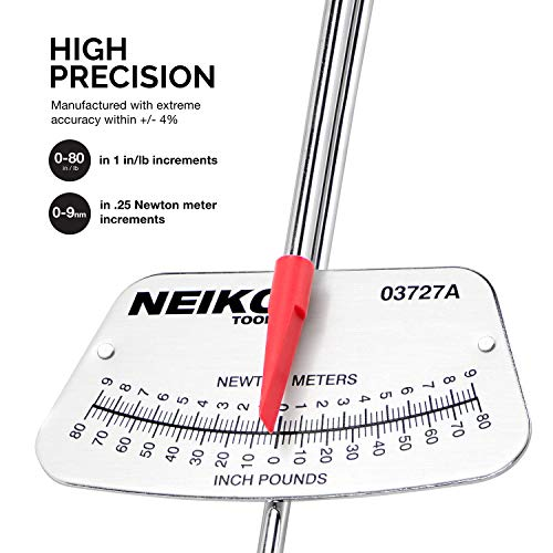 """NEIKO 03727A 1/4"""" Drive Beam Style Torque Wrench   0-80 in/lb   0-9 Newton-meters"""