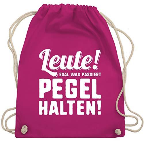 Shirtracer Festival Turnbeutel - Leute! Egal was passiert Pegel halten - Unisize - Fuchsia - Trinken - WM110 - Turnbeutel und Stoffbeutel aus Baumwolle
